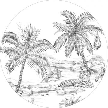mural redondo autoadhesivo dibujo a la pluma de safari blanco y negro de ESTA home