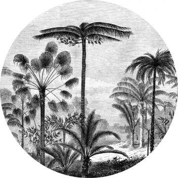 mural redondo autoadhesivo paisaje con palmeras blanco y negro de ESTA home