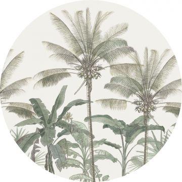 mural redondo autoadhesivo palmeras beige claro y verde grisáceo de ESTA home
