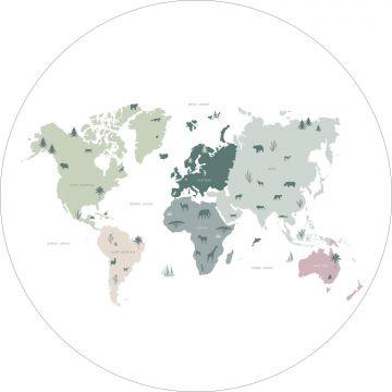 mural redondo autoadhesivo mapa mundial para niños menta verde, gris y rosa de ESTA home