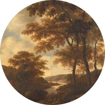 mural redondo autoadhesivo paisaje boscoso naranja de ESTA home