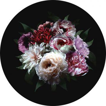 mural redondo autoadhesivo ramo de flores multi color sobre negro de ESTA home