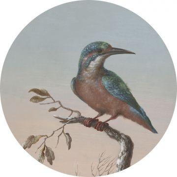 mural redondo autoadhesivo pájaro en rama rojo atardecer de ESTA home