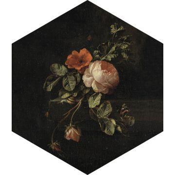 mural decorativo autoadhesivo ramo de flores negro, verde y rosa de ESTA home
