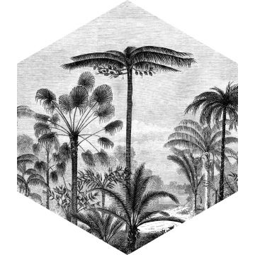mural decorativo autoadhesivo paisaje con palmeras blanco y negro de ESTA home