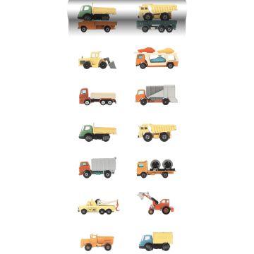 papel pintado XXL camiones y tractores amarillo, naranja y azul de ESTA home
