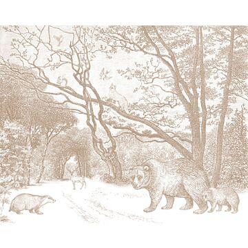 fotomural bosque con animales del bosque rojo barro cocido de ESTA home