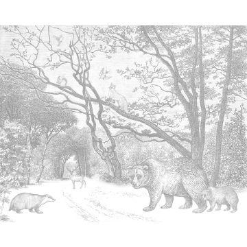 fotomural bosque con animales del bosque gris de ESTA home