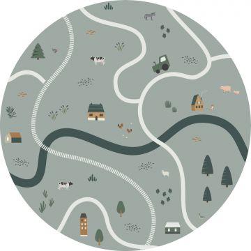 mural redondo autoadhesivo tractores y animales de granja verde grisáceo de ESTA home
