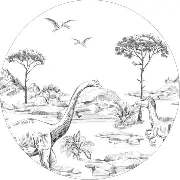 mural redondo autoadhesivo dinosaurios blanco y negro de ESTA home