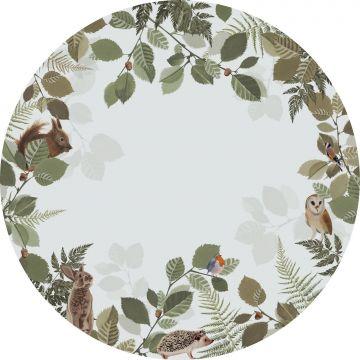 mural redondo autoadhesivo animales del bosque verde y marrón de ESTA home