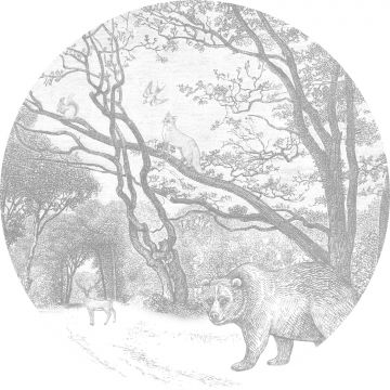 mural redondo autoadhesivo bosque con animales del bosque gris de ESTA home