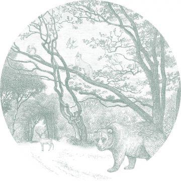 mural redondo autoadhesivo bosque con animales del bosque verde de ESTA home
