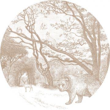 mural redondo autoadhesivo bosque con animales del bosque cerval de ESTA home