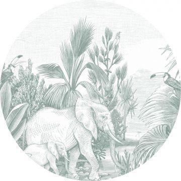 mural redondo autoadhesivo jungla verde de ESTA home