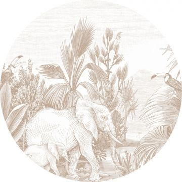 mural redondo autoadhesivo jungla cerval de ESTA home