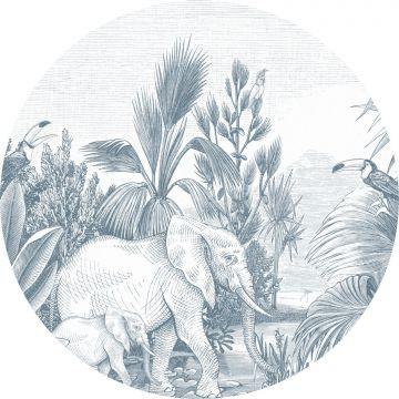 mural redondo autoadhesivo jungla azul de ESTA home