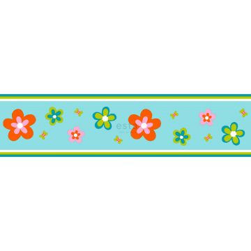 cenefa de papel pintado flores turquesa y naranja de ESTA home