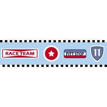 cenefa de papel pintado equipo de carreras azul celeste de ESTA home