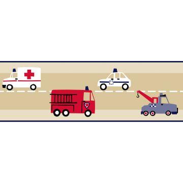 cenefa de papel pintado camión de bomberos y coche de policía beige, rojo y azul de ESTA home