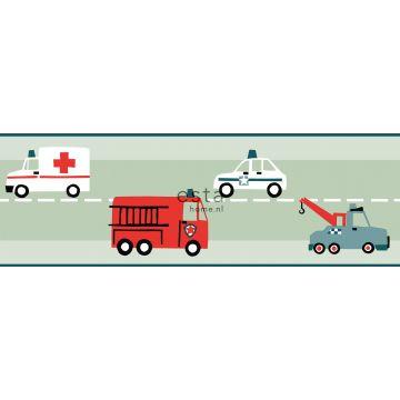 cenefa de papel pintado coches, camiones de bomberos, helicopteros y grúas menta verde de ESTA home