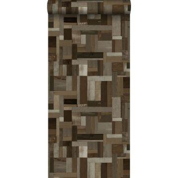 papel pintado motivo de tablas de madera de desecho recuperada marrón oscuro de Origin