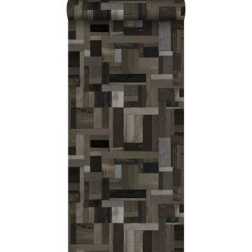 papel pintado motivo de tablas de madera de desecho recuperada negro y gris de Origin