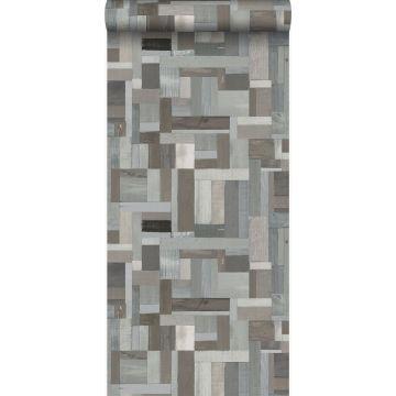 papel pintado motivo de tablas de madera de desecho recuperada gris claro y gris pardo de Origin