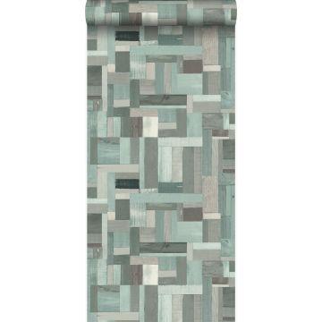 papel pintado motivo de tablas de madera de desecho recuperada verde grisáceo de Origin