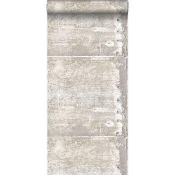 papel pintado grandes placas de metal oxidadas, alteradas y resistidas con remaches blanquecino de Origin