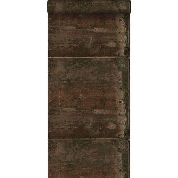 papel pintado grandes placas de metal oxidadas, alteradas y resistidas con remaches marrón herrumbre de Origin