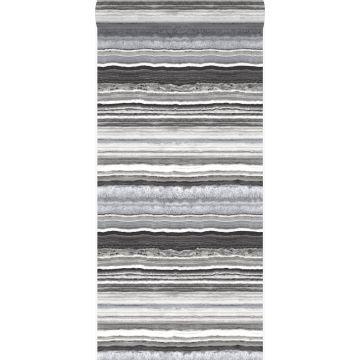 papel pintado piedra de mármol en capas negro y blanco de Origin