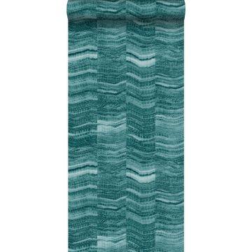 papel pintado Raya chevron zigzag en pedazos de mármol en capas. azul petroleo de Origin