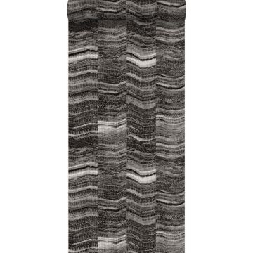 papel pintado Raya chevron zigzag en pedazos de mármol en capas. negro de Origin