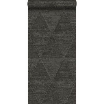 papel pintado triángulos de metal desgastado, alterado y resistido negro oscuro de Origin