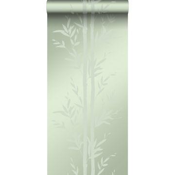 papel pintado bamboo verde oliva agrisado de Origin