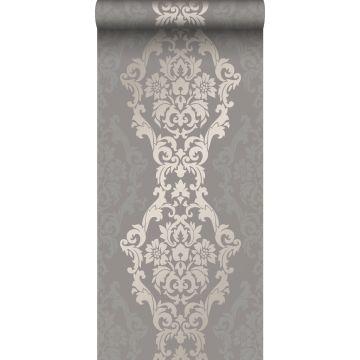 papel pintado adorno gris pardo y bronce brillante de Origin