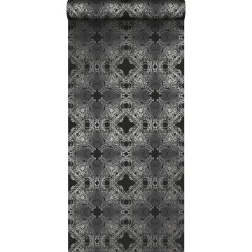 papel pintado forma gráfica negro y plata de Origin