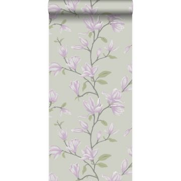 papel pintado magnolia verde mar y morado lila de Origin