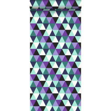 papel pintado triángulos gráficos morado y azul claro de Origin