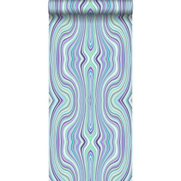 papel pintado líneas gráficas turquesa y morado de Origin