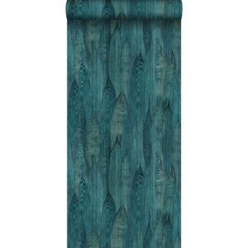 papel pintado con textura eco hojas verde mar de Origin