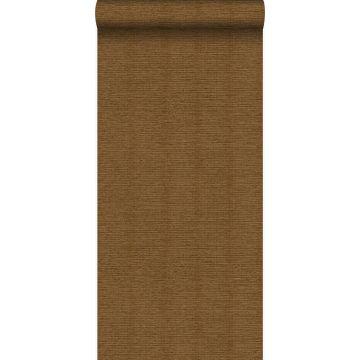 papel pintado efecto lino marrón herrumbre de Origin