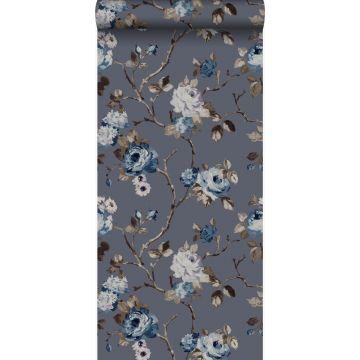 papel pintado flores azul vintage y gris pardo de Origin