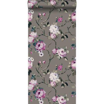 papel pintado flores gris pardo y morado lila de Origin