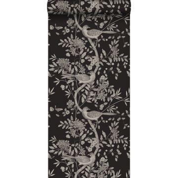 papel pintado grabado de pájaros negro de Origin