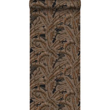 papel pintado hojas de palmera marrón herrumbre de Origin