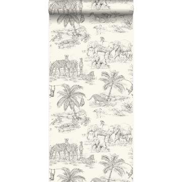 papel pintado jungla blanco marfil y gris de Origin