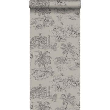 papel pintado jungla arcilla gris de Origin