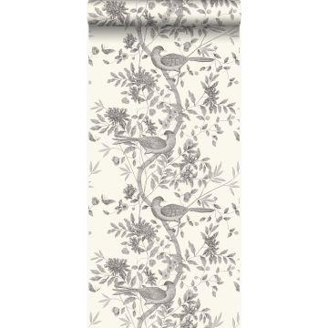 papel pintado grabado de pájaros blanco marfil y gris de Origin